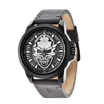 Police Men's Reaper Skull Dial & Grey Leather Strap Watch - Product number 2832100