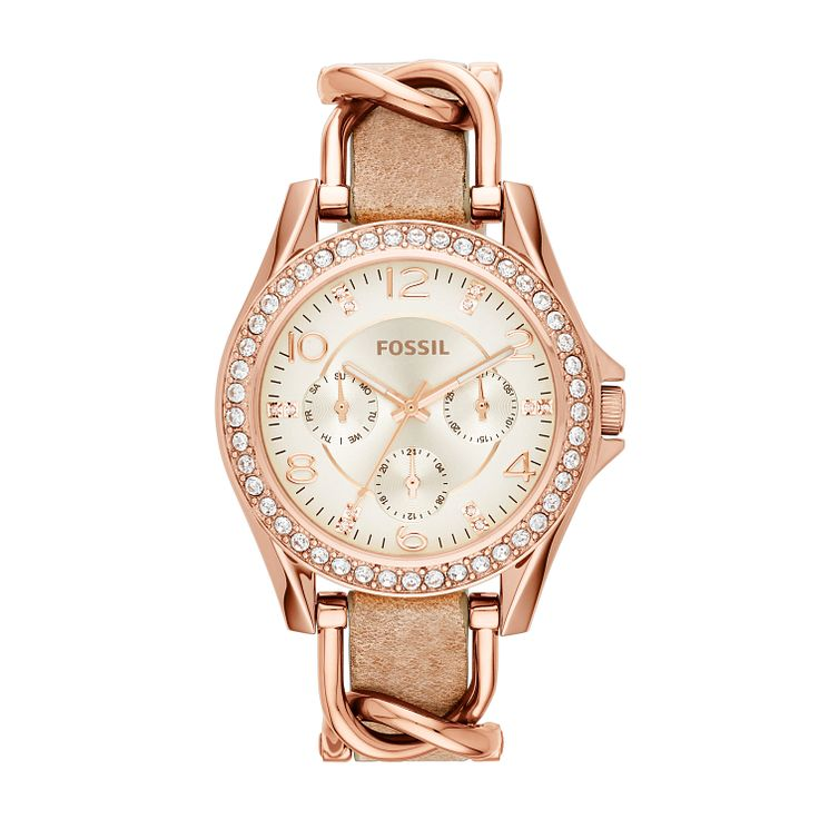 Fossil Riley rose-gold tone stone set strap watch - Product number 2832321