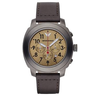 Emporio Armani Men's Brown Leather Strap Watch - Product number 2832429