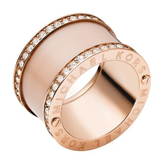 Michael Kors Rose Gold Tone Stone Set Ring Size L - Product number 2833433