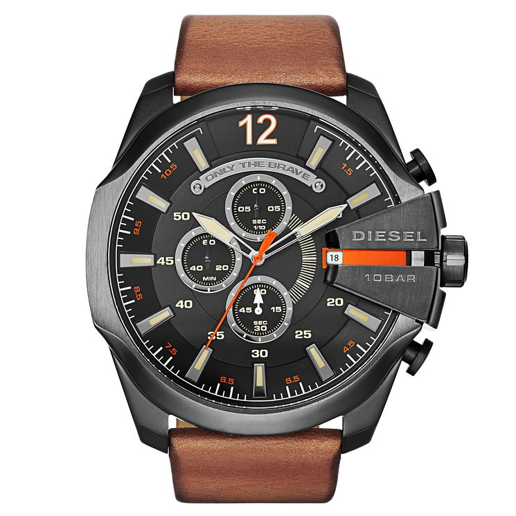 Diesel Mens Mega Chief Black Dial Brown Leather Strap Watch - Product number 2834022