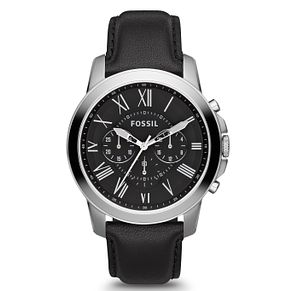 Fossil Men's Silver Tone Black Leather Strap Watch - Product number 2838753