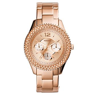 Fossil Ladies' Stella Rose Gold Tone Stone Set Watch - Product number 2838796