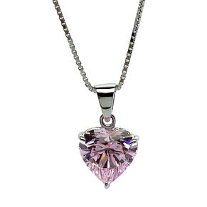 CARAT* LONDON 9ct white gold, pink heart shaped pendant. - Product number 2840804