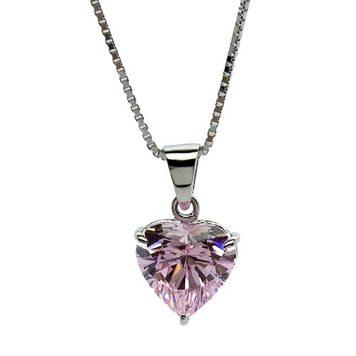 CARAT* 9ct white gold, pink heart shaped pendant. - Product number 2840804