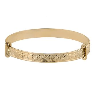 Child's 9ct Gold Heart & Flower Expander Bangle - Product number 2843390