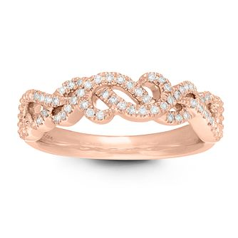 Neil Lane 14ct Rose Gold 0.15ct Diamond Twist Vine Ring - Product number 2845652