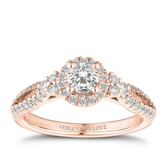 Vera Wang 18ct Rose Gold 0.70ct Diamond Halo Ring - Product number 2846942
