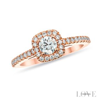 Vera Wang 18ct Rose Gold 0.72ct round cut diamond halo ring - Product number 2849275