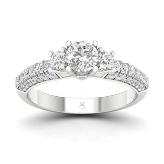 The Diamond Store Platinum 1ct Diamond Trio Ring - Product number 2850621