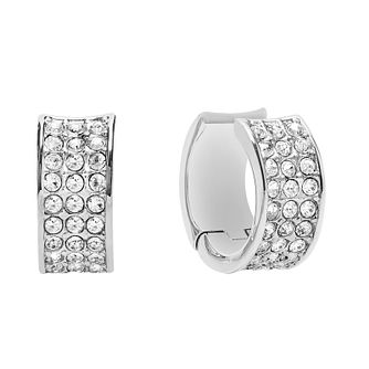 Guess Rhodium Plated Crystal Set Hoop Earrings - Product number 2852985