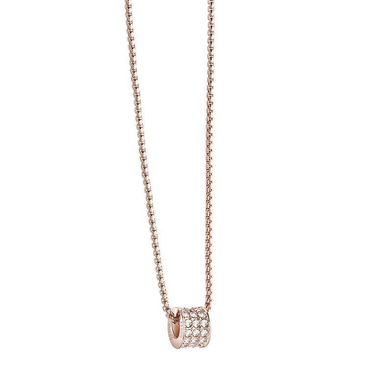 Guess Rose Gold Plated Crystal Set Charm Drop Pendant