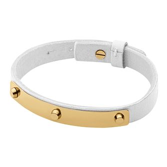 Dyrberg Kern Kaya Yellow Gold Tone White Leather Bracelet - Product number 2862948