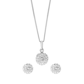 Evoke Silver & Rhodium Crystal Ball Earring & Pendant Set - Product number 2863944