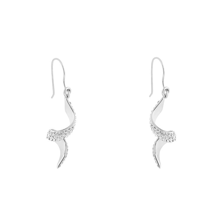 Evoke Silver & Rhodium Plated Crystal Set Twist Earrings - Product number 2864282
