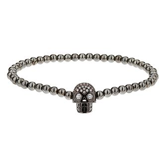Mikey Grey Bead & Crystal Set Skull Bracelet - Product number 2865971