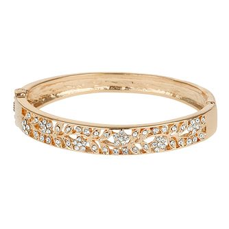 Mikey Rose Gold Tone Crystal Set Leaf Design Bangle - Product number 2866161