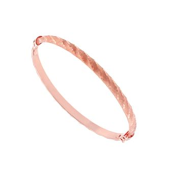 9ct Rose Gold Matt & Polished Diamond Cut Bangle - Product number 2866676