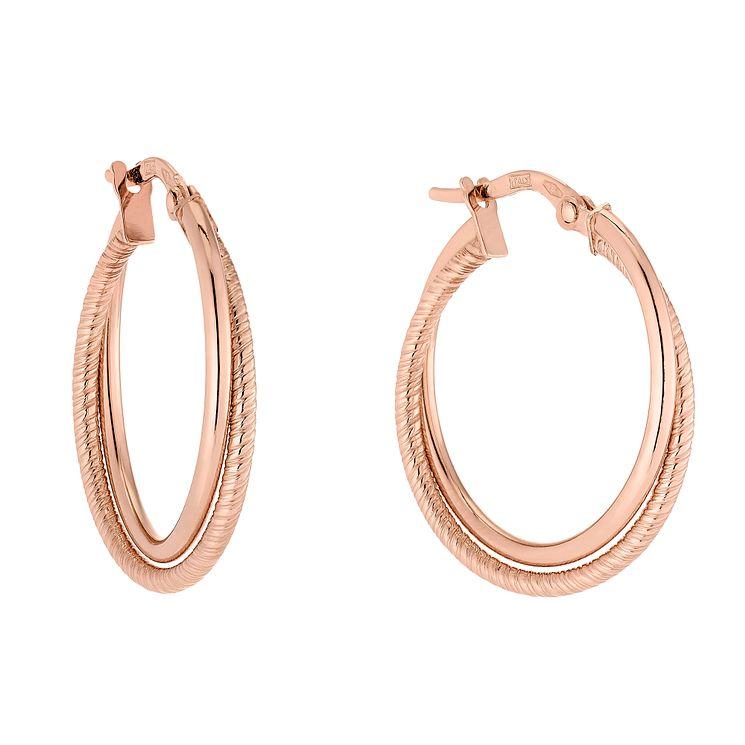9ct Rose Gold Double Twist Creole Hoop Earrings