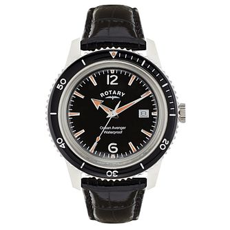 Rotary men's stainless steel black leather strap watch - Product number 2866846
