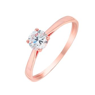 9ct Rose Gold & Cubic Zirconia Solitaire Ring - Product number 2867214