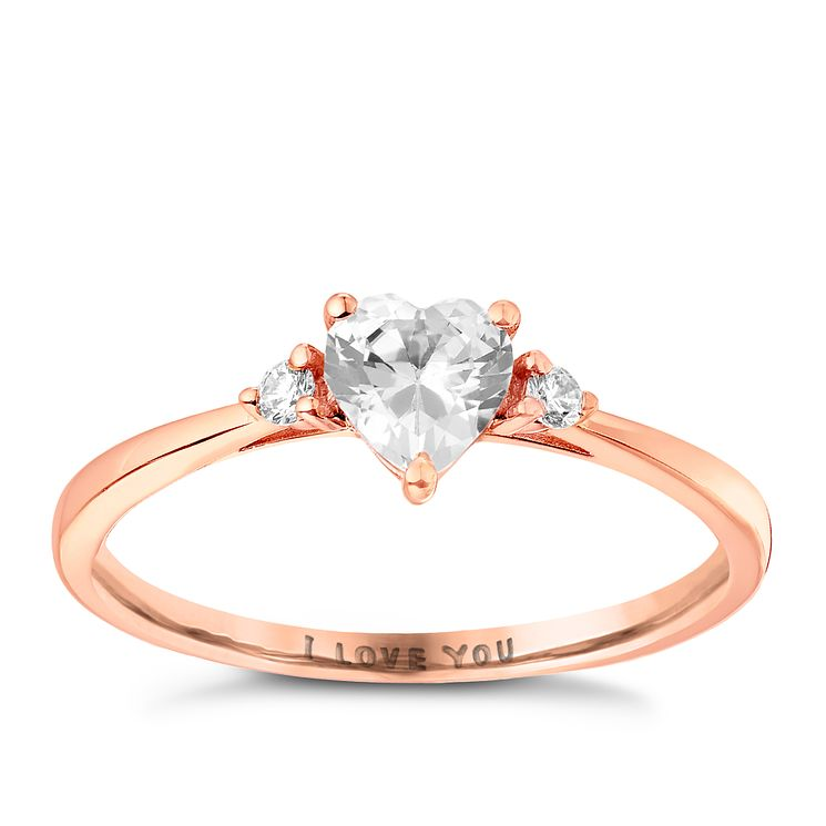 9ct Rose Gold Cubic Zirconia I Love You Ring - Product number 2867362
