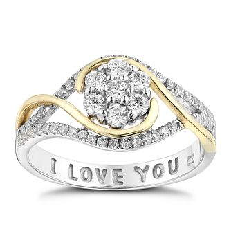 Silver, Yellow Gold & Cubic Zirconia I Love You Flower Ring - Product number 2867788