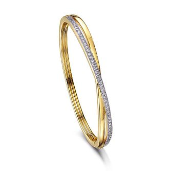 Buckley London Yellow Gold Plated Crystal Crossover Bangle - Product number 2868636