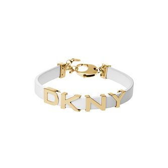 DKNY Parsons White Leather & Yellow Gold Tone Logo Bracelet - Product number 2877090