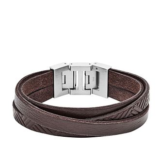 Fossil Vintage Men's Stainless Steel Brown Leather Bracelet - Product number 2878429