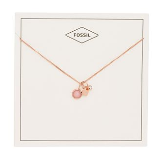 Fossil Ladies' Rose Gold Tone Rose Quartz Heart Necklace - Product number 2878518