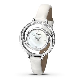 Seksy Ladies' Swarovski Element White Strap Watch - Product number 2882183
