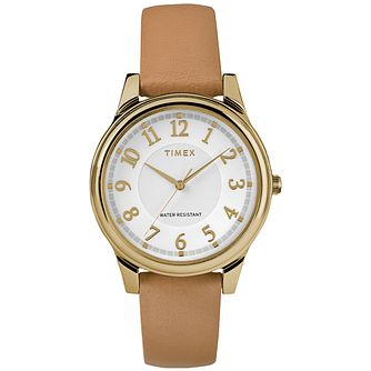 Timex Style Ladies' Silver Dial Tan Leather Strap Watch - Product number 2892243