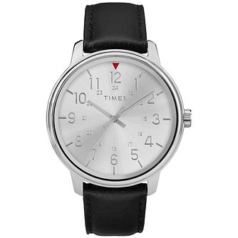 Timex Style Men's Silver Dial Black Leather Strap Watch - Product number 2892464