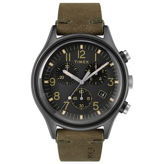 Timex MK1 Men's Olive Green Leather Strap Watch - Product number 2892510