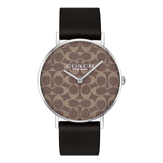 Coach Perry Ladies' Signature Dial Black Leather Strap Watch - Product number 2897334