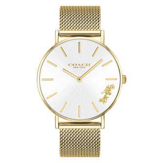 Coach Perry Ladies' Gold Plated Mesh Bracelet Watch - Product number 2897350
