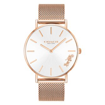 Coach Perry Ladies' Rose Gold Plated Mesh Bracelet Watch - Product number 2897369