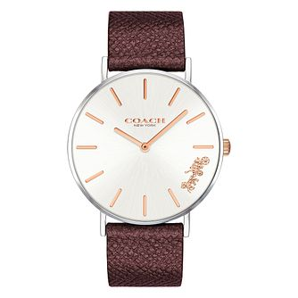 Coach Perry Ladies' Metallic Red Leather Strap Watch - Product number 2897385