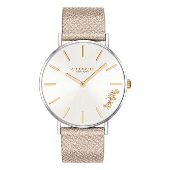 Coach Perry Ladies' Metallic Champagne Leather Strap Watch - Product number 2897407