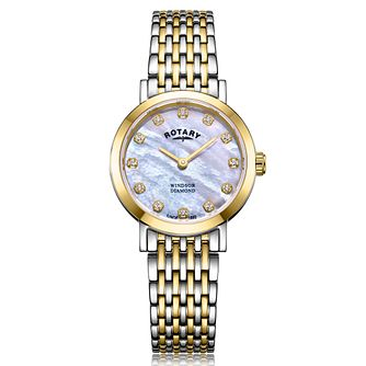 Rotary Windsor Ladies' Two-Tone Diamond Bracelet Watch - Product number 2901625