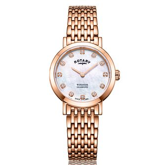 Rotary Windsor Ladies' Rose Gold Tone Diamond Bracelet Watch - Product number 2901633