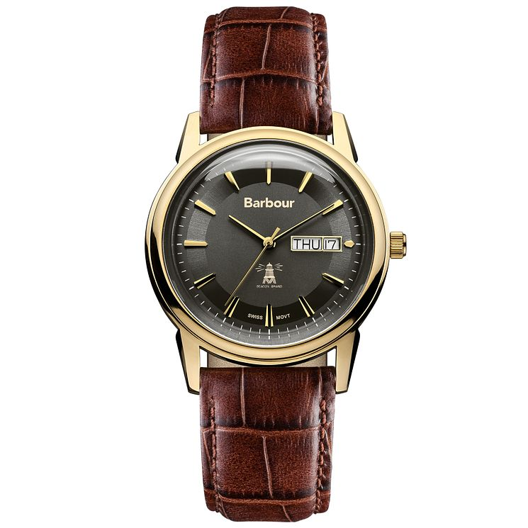 Barbour Gosforth men's gold-plated brown leather strap watch - Product number 2901986