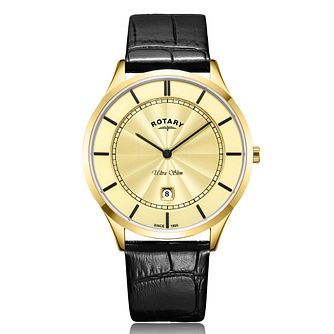 Rotary Ultra Slim Men's Black Leather Strap Watch - Product number 2902478