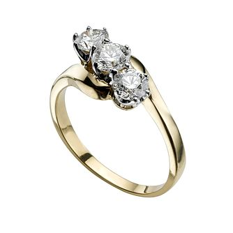 18ct gold 1ct diamond three stone ring - Product number 2902524