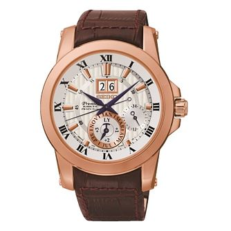 Seiko Men's Round White Dial Brown Leather Strap Watch - Product number 2909677