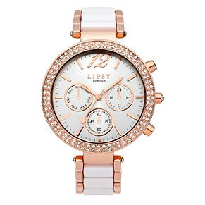 Lipsy Ladies' Rose Gold Tone & White Link Bracelet Watch - Product number 2917610