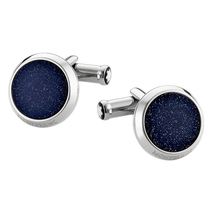 Montblanc stainless steel blue goldstone round cufflinks - Product number 2918315