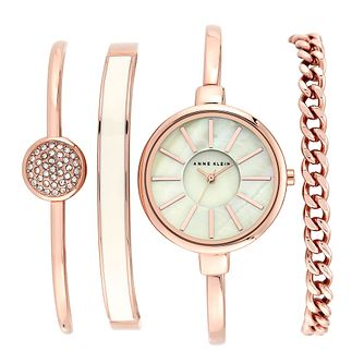 Anne Klein Ladies' Rose Tone Bangle Watch & 3 Bracelet Set - Product number 2920190