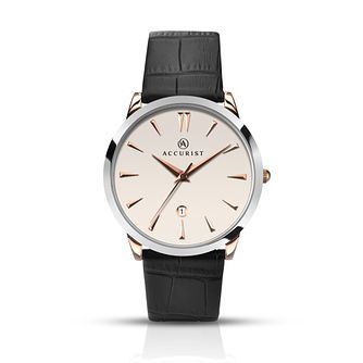 Accurist Men's Two Tone Black Leather Strap Watch - Product number 2920557